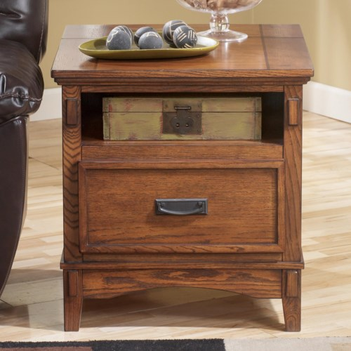 Signature Design by Ashley Cross Island Mission Rectangular End Table with Hidden Power Strip