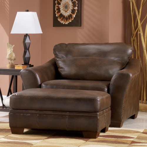 Signature Design by Ashley Del Rio DuraBlend - Sedona Contemporary Chair and a Half and Ottoman with Block Legs
