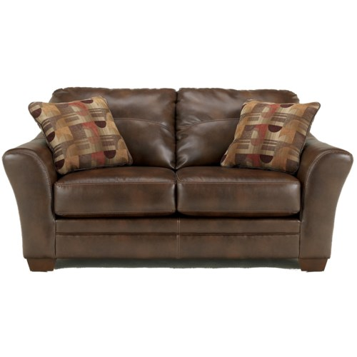 Signature Design by Ashley Del Rio DuraBlend - Sedona Contemporary Stationary Loveseat with Flair Tapered Arms