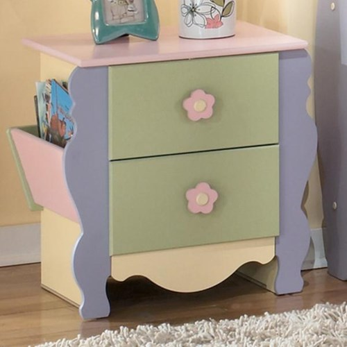 Signature Design by Ashley Doll House Magazine Night Stand with 2 Drawers and 2 Magazine Racks