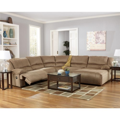 Signature design by ashley hogan mocha 5 piece motion for Ashley mocha sectional with chaise