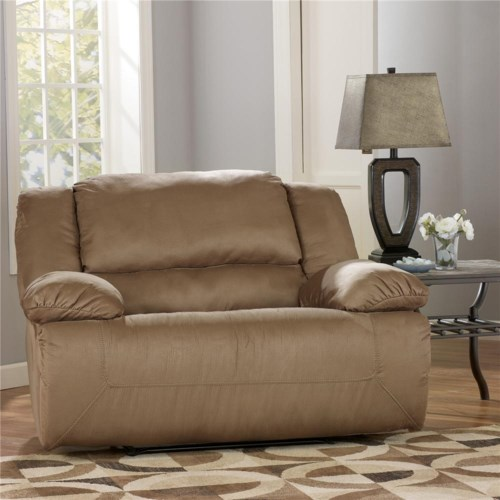 Signature Design by Ashley Furniture Hogan - Mocha Zero Wall Recliner with Wide Seat Box
