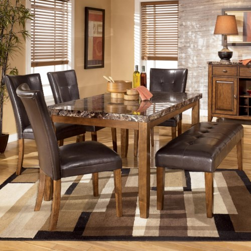 Signature Design by Ashley Furniture Lacey 6-Piece Dining Table with Side Chairs & Bench Set