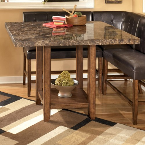 Signature Design by Ashley Lacey Faux Marble Square Counter Height Pub Table