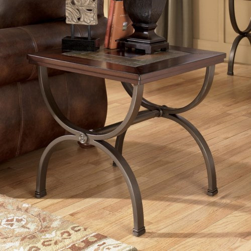Ashley (Signature Design) Zander Square End Table with Slate Inlay and Metal Frame