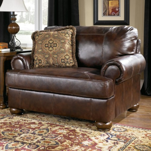 Signature Design by Ashley Axiom - Walnut Traditional Upholstered Chair and a Half with Bun Wood Feet