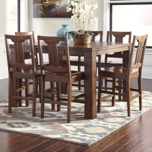 Signature Design By Ashley Chimerin 7 Piece Dining Room Counter Extension Table Set Gardiner