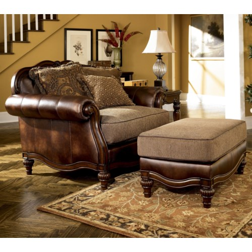Claremore antique chair and 1 2 and ottoman for Ashley claremore chaise