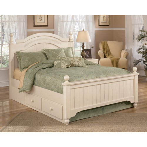 Signature Design by Ashley Furniture Cottage Retreat Queen Poster Bed with Underbed Storage