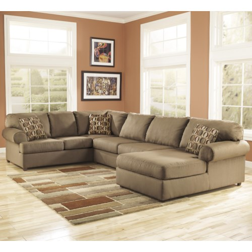 Cowan mocha right facing chaise end sectional dimensions for Ashley mocha sectional with chaise
