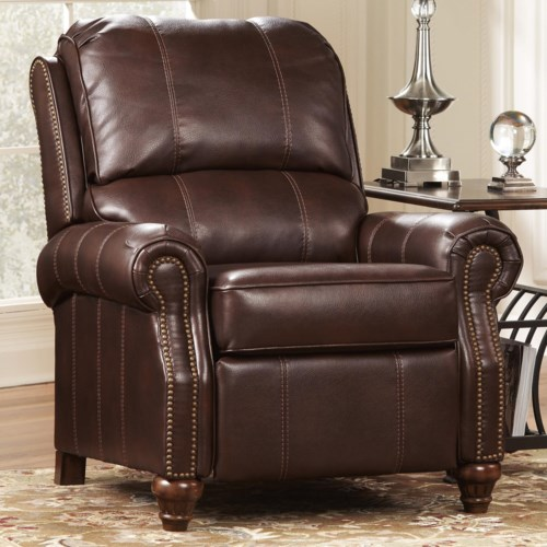Signature Design by Ashley Birsh DuraBlend® - Brindle Traditional Low Leg Recliner with Nailhead Trim