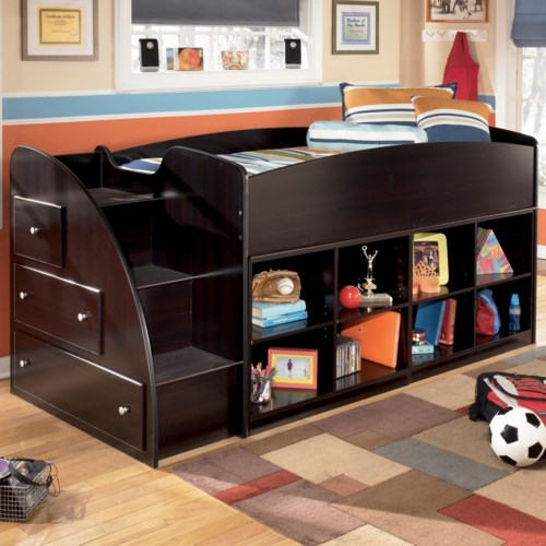 Signature Design by Ashley Embrace Twin Loft Bed with Left Storage Steps and Bookcases