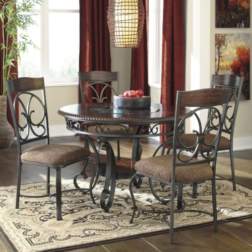 Signature Design By Ashley Glambrey Round Dining Table And Chair Set Royal Furniture Dining