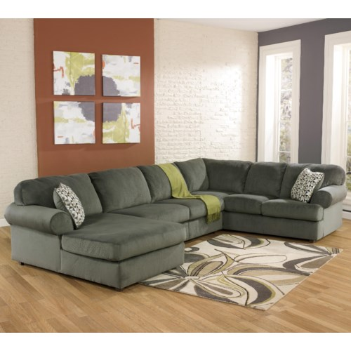 Signature Design by Ashley Furniture Jessa Place - Pewter Casual Sectional Sofa with Left Chaise