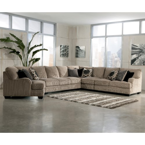 Signature Design by Ashley Katisha - Platinum 5-Piece Sectional Sofa with Left Cuddler