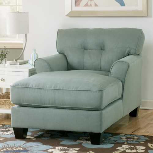 Signature Design by Ashley Furniture Kylee - Lagoon Buttonless Tufted Two-Arm Chaise