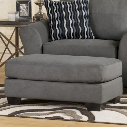Signature Design by Ashley Lexi - Cobblestone Contemporary Plush Cushion Ottoman with Thick Block Feet