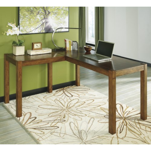 Signature Design By Ashley Lobink Contemporary L Desk Godby Home Furnishings L Shape Desk