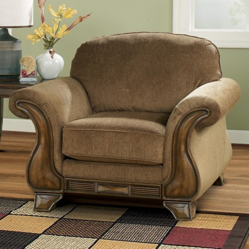 Signature Design By Ashley Montgomery Mocha Chair With Flared Arms Exposed Wood Pilgrim