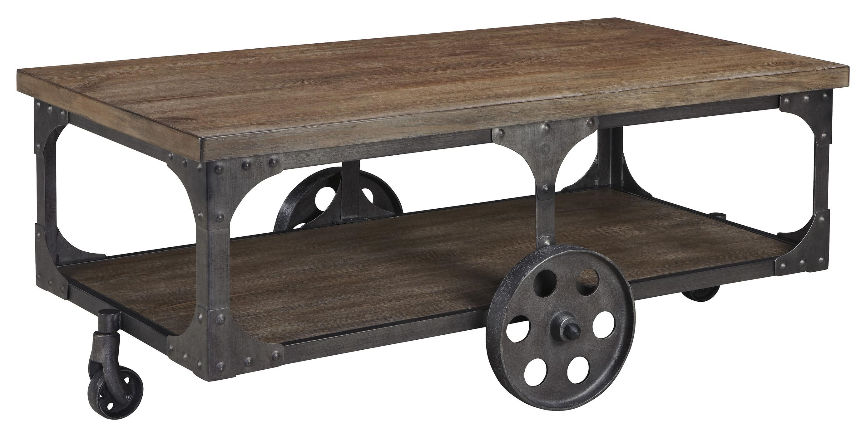Vennilux Factory Cart Style Rectangular Cocktail Table by Signature Design by Ashley