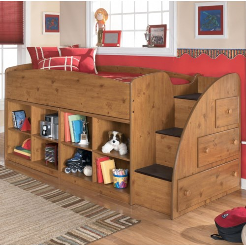 Signature Design by Ashley Stages Twin Loft Bed with Right Storage Steps and Bookcases