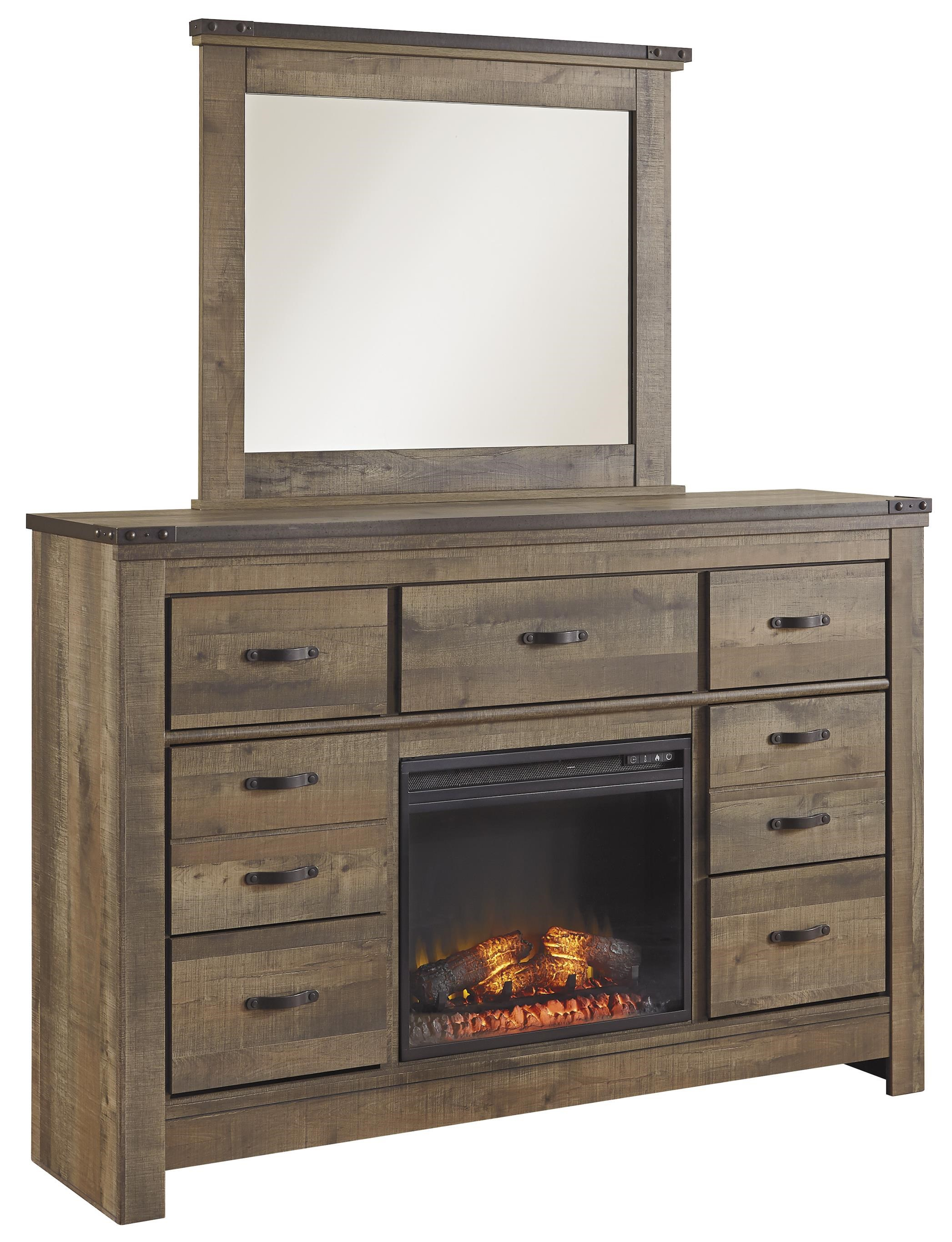 signature design by ashley trinell rustic look dresser Sauder Entertainment Center with Fireplace Dresser Electric Fireplace