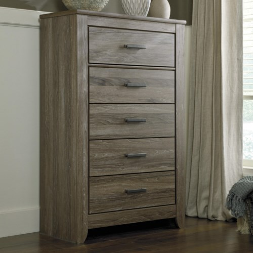 Signature Design By Ashley Zelen Rustic 5 Drawer Chest Pilgrim Furniture City Chest Of