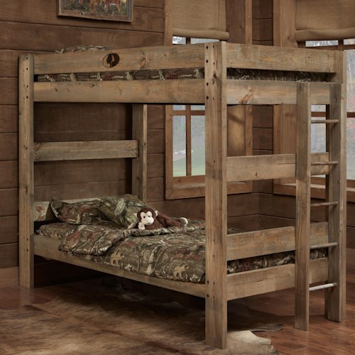Simply Bunk Beds Mossy Oak Twin Rustic Bunk Bed With Ladder