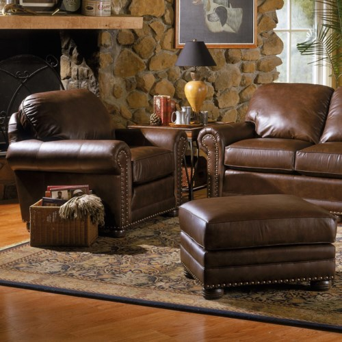 Smith Brothers 309 Casual Upholstered Chair and Ottoman Set with Rolled Arms