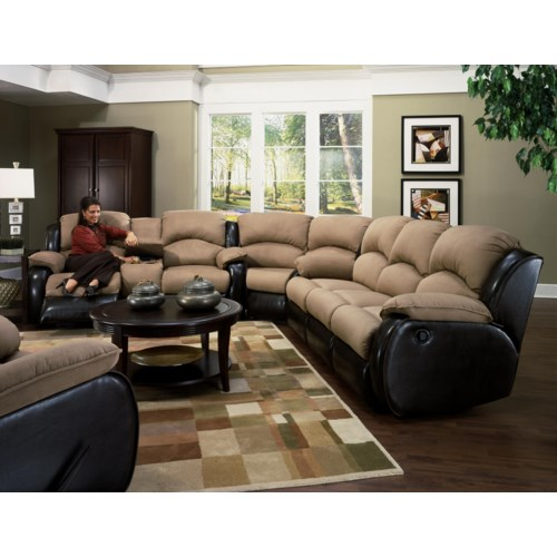 Southern Motion Jolson Reclining Sectional Sofa with Storage Console