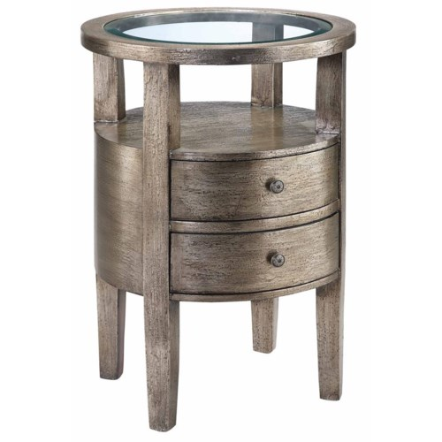 Stein World Accent Tables Round Accent Table w/ Glass Insert Top