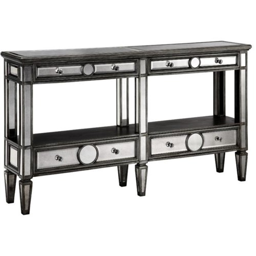 Stein World Accent Tables Console Table w/ Mirror Fronts and Wood Tops