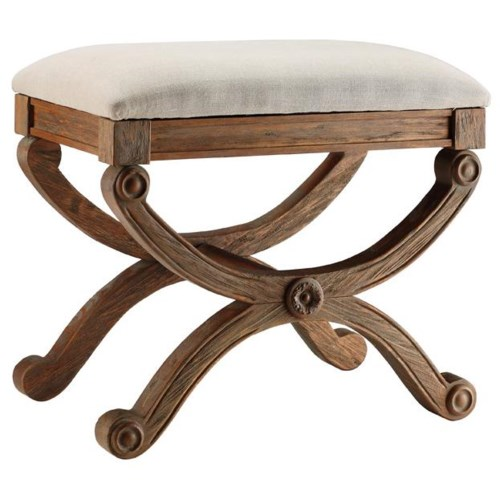 Stein World Benches Small Bench w/ Natural Fabric Seat