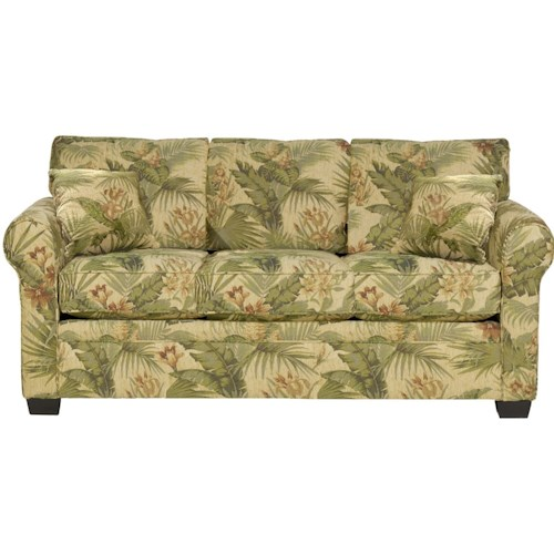 Stylus Diaz Casual Styled Stationary Sofa with Rounded Arms and Wooden Feet
