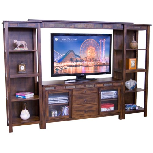 Sunny Designs Santa Fe Rustic 108 Inch Open Display Wall Unit