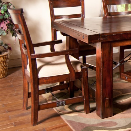 Sunny Designs Vineyard Ladder-Back Dining Arm Chair with Upholstered Seat