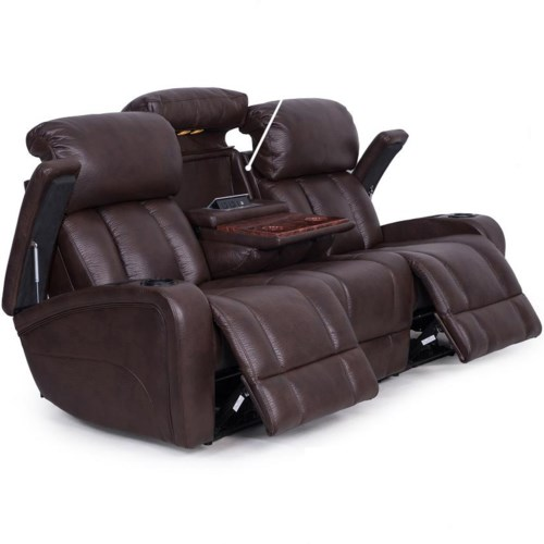 Synergy Home Furnishings 417 Casual Power Reclining Sofa With Storage And Cup Holders Rife 39 S