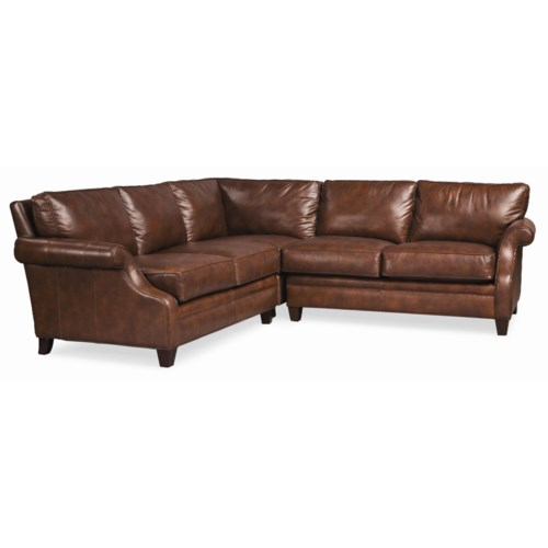 Thomasville® Mercer Series Leather Sectional with Scoop Arms