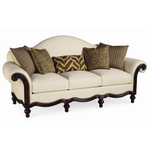 Thomasville® Pauline  Camel Back Sofa with Wood Base