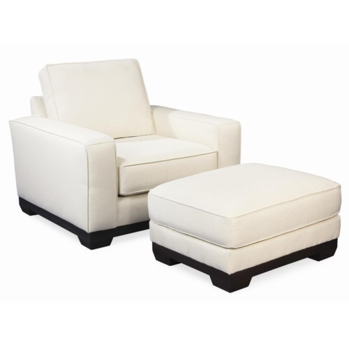 Thomasville® Retreat Contemporary Chair and Ottoman with Wood Base