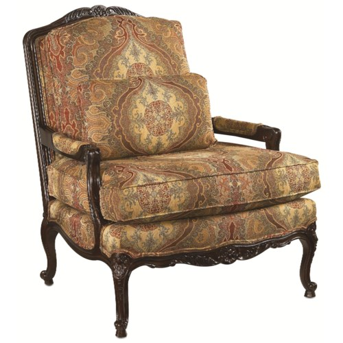 Thomasville® Upholstered Chairs and Ottomans Delicate Exposed Wood Patriarch Chair