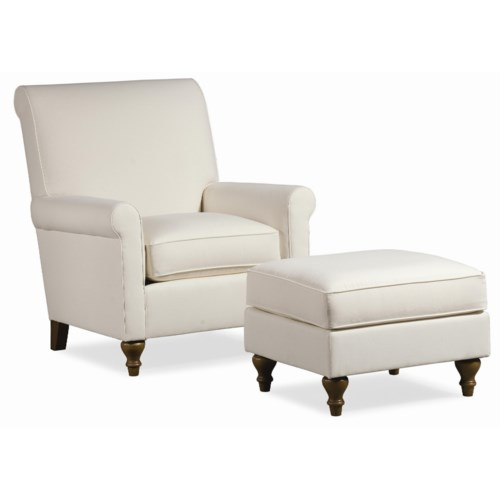 Thomasville® Upholstered Chairs and Ottomans Solitaire Upholstered Chair with Ottoman