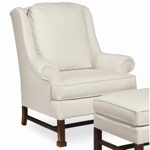 Thomasville® Upholstered Chairs and Ottomans Jamison Chair with Wood Base