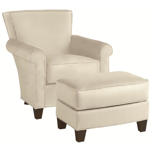 Thomasville® Upholstered Chairs and Ottomans Contemproary Upholstered Sable Chair and Ottoman Set