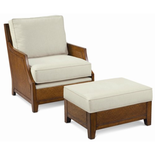 Thomasville® Upholstered Accents Tortola Chair and Ottoman with Woven Accents
