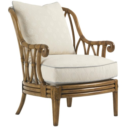 Tommy Bahama Home Beach House Ocean Breeze Chair with Exposed Rattan Details
