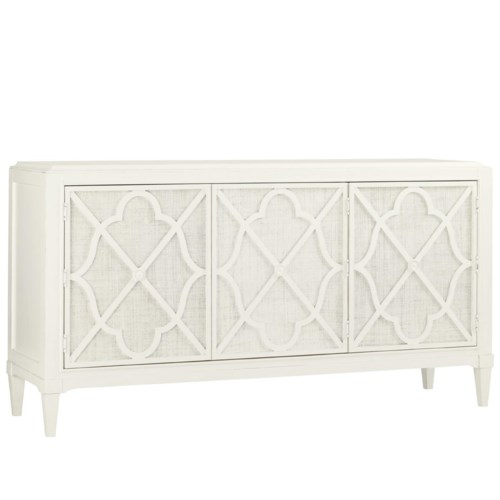 Tommy Bahama Home Ivory Key Hawkins Point Buffet with Woven Raffia Doors