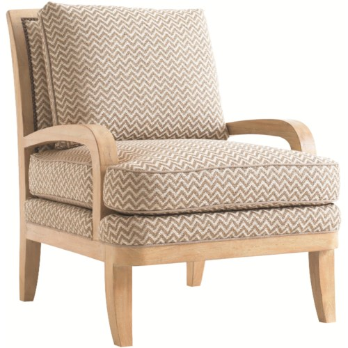 Tommy Bahama Home Road To Canberra Wickham Fabric-Upholstered Chair with Woven Wood Veneer Back