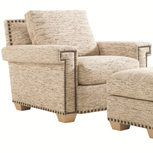 Tommy Bahama Home Road To Canberra Torres Fabric-Upholstered Loose Back Chair with Geometric Lines Trimmed in Decorative Nailhead