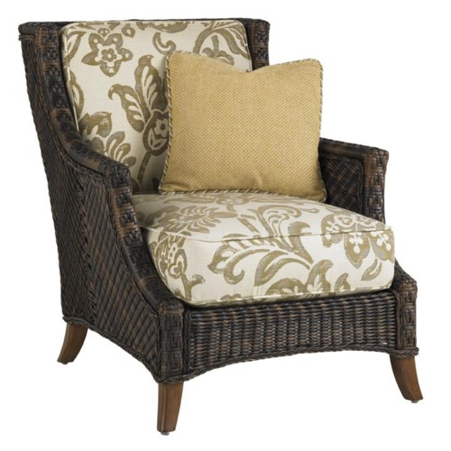 Tommy Bahama Outdoor Living Island Estate Lanai Outdoor Woven Wicker Lounge Chair with Throw Pillow